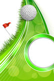 Background abstract golf sport green grass red flag white ball frame vertical illustration Vector Illustration