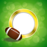 Background abstract green American football ball gold circle frame illustration Royalty Free Stock Image