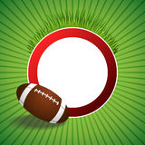 Background abstract green American football ball red circle frame illustration Stock Photo