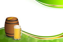 Background abstract green barrel drink glass beer yellow wheat gold frame illustration. Vector Royalty Free Stock Photo