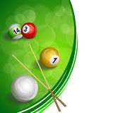 Background abstract green billiard pool cue red yellow white ball illustration Royalty Free Stock Photo
