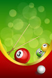Background abstract green billiards pool cue red ball frame vertical gold ribbon illustration Royalty Free Stock Photos