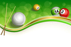 Background abstract green billiards pool cue red white yellow ball gold frame illustration. Vector Stock Images