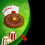 Background abstract green black casino roulette cards chips craps frame illustration Royalty Free Stock Images