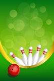 Background abstract green bowling red ball frame vertical gold ribbon illustration Royalty Free Stock Photo
