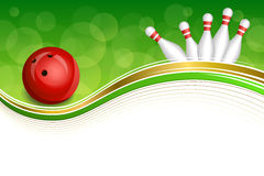 Background abstract green bowling red ball gold frame illustration. Vector Royalty Free Stock Photo