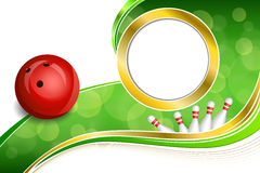 Background abstract green bowling red ball gold frame illustration Stock Photography