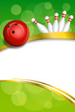 Background abstract green bowling red ball gold frame ribbon vertical illustration. Vector vector illustration