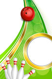 Background Abstract Green Bowling Red Ball Gold Vertical Frame Illustration Royalty Free Stock Photo