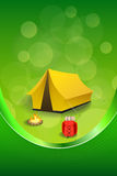 Background abstract green camping tourism yellow tent red backpack bonfire frame vertical ribbon illustration Royalty Free Stock Image