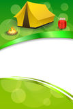 Background abstract green camping tourism yellow tent red backpack bonfire frame vertical ribbon illustration Royalty Free Stock Photo