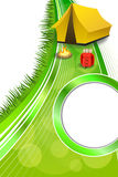 Background abstract green camping tourism yellow tent red backpack bonfire frame vertical ribbon illustration Stock Photo