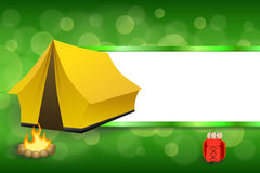 Background abstract green camping tourism yellow tent red backpack bonfire stripes frame illustration Stock Photo