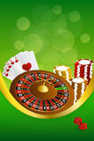 Background abstract green casino roulette cards chips craps frame vertical gold ribbon illustration Stock Photos
