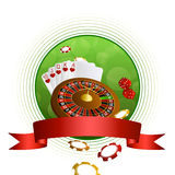 Background abstract green casino roulette cards chips craps red ribbon circle frame Royalty Free Stock Photography