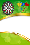 Background abstract green darts board frame vertical gold ribbon illustration Stock Image