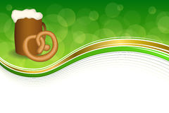 Background abstract green drink cup beer Pretzels frame illustration Royalty Free Stock Image