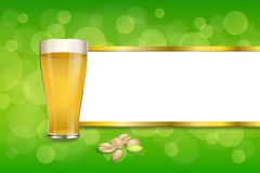Background abstract green drink glass beer pistachios frame gold stripes illustration Royalty Free Stock Images