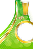 Background abstract green drink glass beer pistachios frame vertical gold ribbon circle illustration Stock Photography