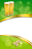 Background abstract green drink glass beer pistachios frame vertical gold ribbon illustration Royalty Free Stock Image