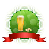 Background abstract green drink glass beer pistachios red ribbon circle frame illustration Stock Photos