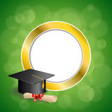 Background abstract green education graduation cap diploma red bow gold circle frame illustration stock illustration