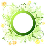 Background abstract green floral flowers and circle Stock Image