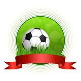 Background abstract green football soccer ball illustration circle red ribbon frame Stock Photo