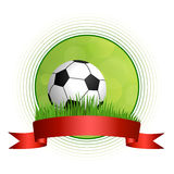 Background abstract green football soccer ball illustration circle red tape frame Royalty Free Stock Image