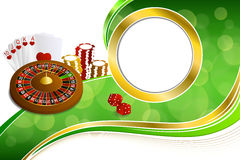 Background abstract green gold casino roulette cards chips craps frame gold illustration Royalty Free Stock Photos