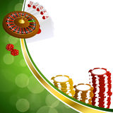 Background abstract green gold casino roulette cards chips craps illustration Stock Photography