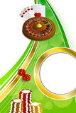 Background abstract green gold casino roulette cards chips craps vertical frame illustration. Vector royalty free illustration