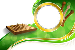 Background abstract green gold chess game brown beige board figures circle frame illustration Royalty Free Stock Photos