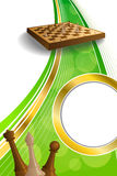 Background abstract green gold chess game brown beige board figures circle vertical frame illustration. Vector Stock Photo
