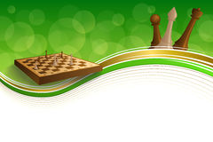 Background abstract green gold chess game brown beige board figures frame illustration Royalty Free Stock Photos