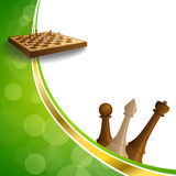 Background abstract green gold chess game brown beige board figures frame illustration. Vector Royalty Free Stock Image