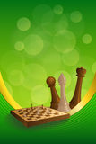 Background abstract green gold chess game brown beige board figures frame vertical gold ribbon illustration vector Royalty Free Stock Photo