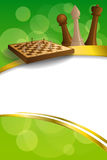Background abstract green gold chess game brown beige board figures gold frame ribbon vertical illustration. Vector Stock Images