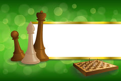 Background abstract green gold chess game brown beige board figures stripes frame illustration. Vector Stock Photo