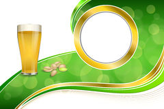 Background abstract green gold drink glass beer pistachios circle frame illustration Stock Photography