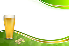 Background abstract green gold drink glass beer pistachios frame illustration Stock Image