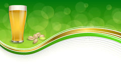 Background abstract green gold drink glass beer pistachios frame illustration Stock Images