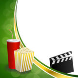 Background abstract green gold drink popcorn movie clapper board frame illustration Stock Image