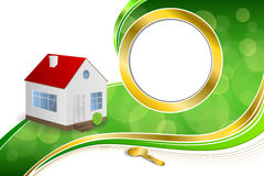 Background abstract green gold house key circle frame ribbon illustration Royalty Free Stock Images