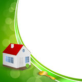 Background abstract green gold house key frame illustration ribbon Royalty Free Stock Images