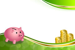 Background abstract green gold pink pig moneybox money coin frame illustration. Vector stock illustration