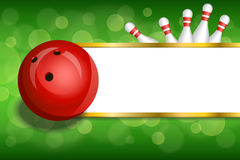 Background Abstract Green Gold Stripes Bowling Red Ball Frame Illustration Royalty Free Stock Photography