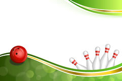 Background abstract green gold tape bowling red ball illustration. Vector royalty free illustration