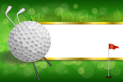 Background abstract green golf club sport white ball red flag gold strips frame illustration Stock Image