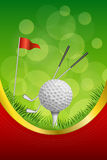 Background abstract green golf sport white ball red flag club frame vertical gold ribbon illustration. Vector Stock Photo